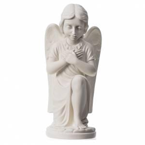 Statues en marbre reconstitué: Statue extérieur Ange droit marbre 34 cm