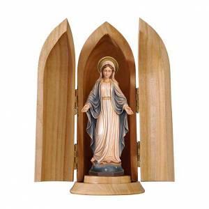 Statue Notre Dame des Grâces dans niche bois peint s1