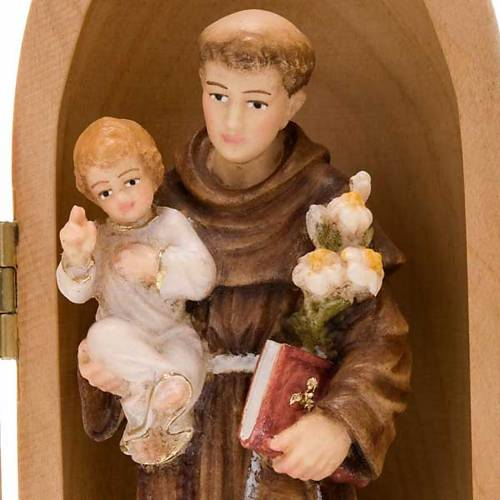 Statue Saint Antoine avec enfant dans niche bois peint s2