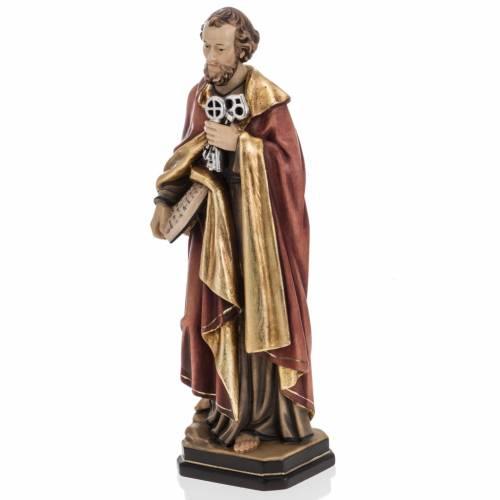 Statue St Pierre avec les clés 31 cm bois peint s5