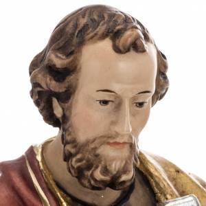 Statue St Pierre avec les clés 31 cm bois peint s7