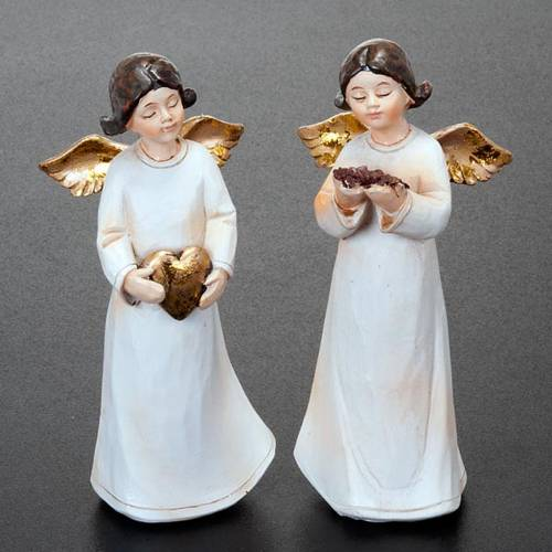Statuette angeli 4 pezzi 13 cm addobbi natalizi s3