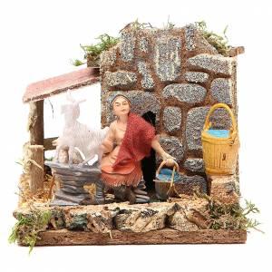 STOCK animated nativity figurine 10cm shepherd and sheep s1