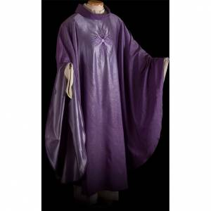 STOCK Chasuble blended colour with embroided Cross, wool s2