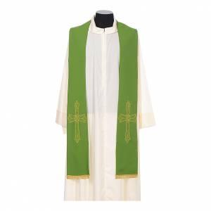 Stola sacerdote ricamo dorato croce su due lati 100% poliestere s2