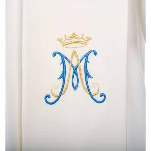 Priesterstolen: Stola weiss mit blauem Mariensymbol