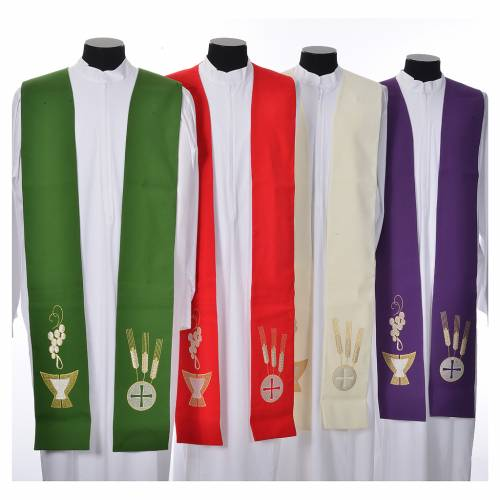 Stole, 80% polyester 20% wool with chalice grapes decoration s1