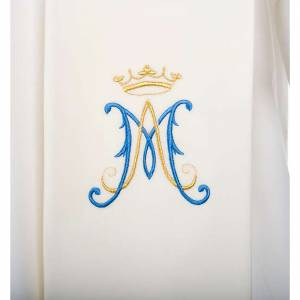 Stoles: Stole, white with blue Marian symbol