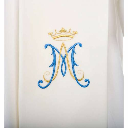 Stole, white with blue Marian symbol s2