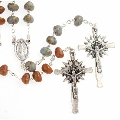 Stone-like rosary beads, silver metal, 9mm s1
