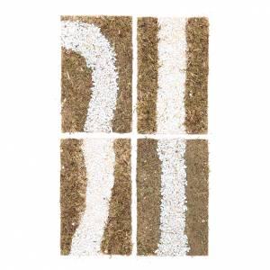 Muschio, licheni, piante, pavimentazioni: Stradina componibile presepe 4 pezzi 16x19