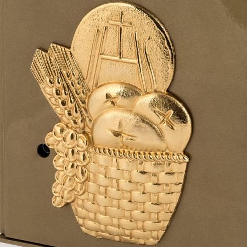 Tabernacle d'autel en fer symbole eucharistique en bronze doré s2