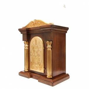 Tabernacle en bois avec chapiteau feuille or 70x45x30 s2