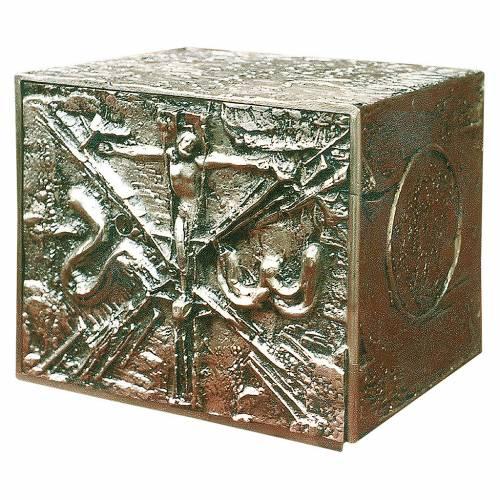 Tabernacolo da mensa ottone fuso argento Gesù crocifisso s1