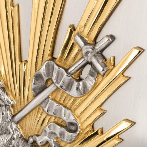 Tabernacolo da muro Agnello Immolato in bronzo e ottone s3