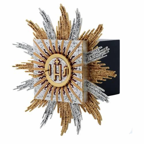 Tabernacolo da parete ottone argento oro JHS raggi s3