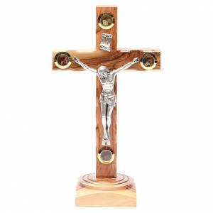 Table Crucifix olive wood Holy Land earth & seeds 23cm s1