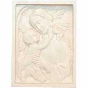 Tableau en relief Vierge et Enfant bois ciré Val Gardena s1