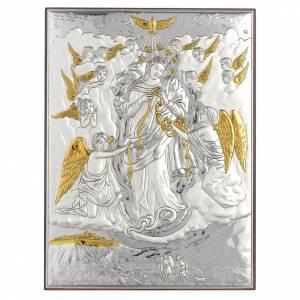 Bas reliefs en argent: Tableau Marie qui défait les noeuds argent doré 19x26cm