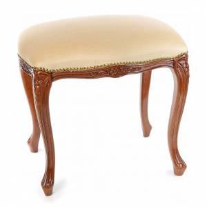 Ambones, reclinatorios, mobiliario religioso: Taburete sacristía madera nogal terciopelo marfil