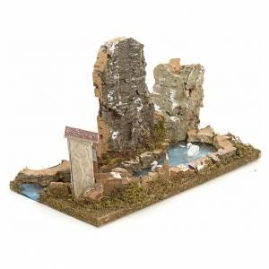 Ponts, ruisseaux, palissades pour crèche: Étang pour crèche avec cygnes et des roches