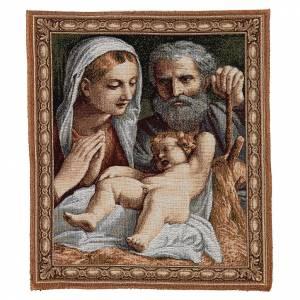 Tapisseries religieuses: Tapisserie Sainte Famille de Carracci 41x34 cm