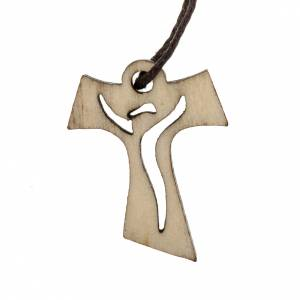First Communion Albs: Tau Cross first communion wood risen Christ, 3,3x2,4cm.