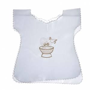 Taufkleidungen und Taufkerzen: Taufkleid aus Satin, IHS