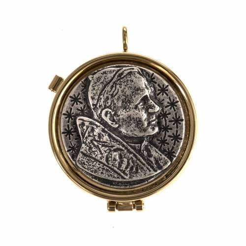 Teca eucaristica placca argentata Giovanni Paolo II s1