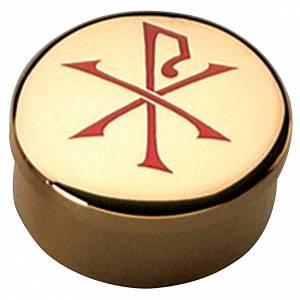 Teca ostia ottone dorato smalto rosso Pax Molina diam. 5 cm s1