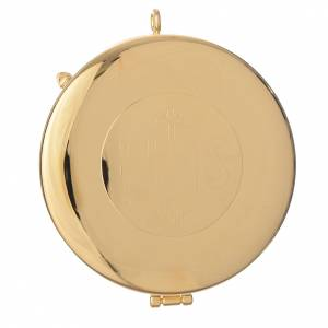 Teca ottone dorato incisione IHS diam cm 8 s1