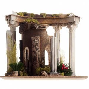 Temple romain avec colonnes et petite maison pour crèche s9