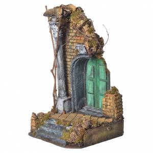 Temple with green door for nativities, 20x20x40cm s2