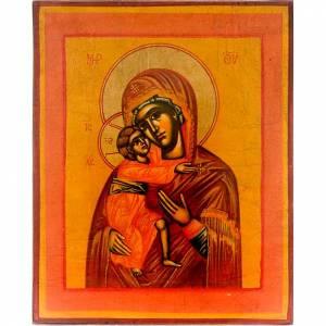 Greek Icons: The Virgin of Vladimir on ochre backdrop