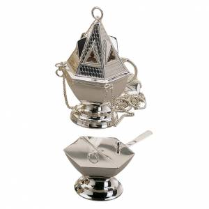 Thuribles and boats: Thurible and boat set by Molina in silver copper