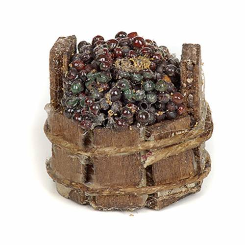 Tinozza uva nera presepe Napoli diam 3 cm s2