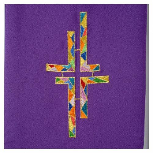 Étole liturgique double face vert violet croix colorées s5