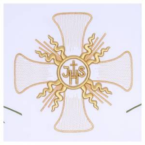 Tovaglia per altare 165x300 cm croce centrale e sei spighe s2