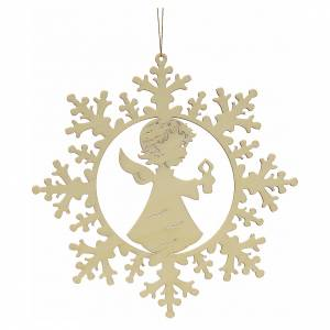 Christmas tree ornaments in wood and pvc: Tree decoration, wooden snowflake with candle and angel