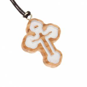 Wooden cross pendants: Trefoil cross pendant - white