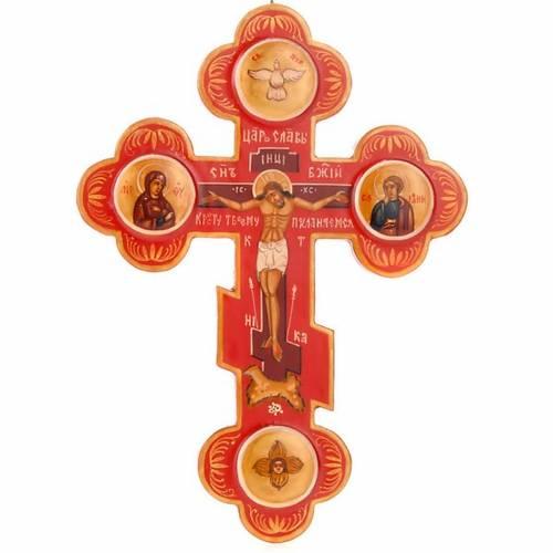 Trefoil cross Russian icon, red s1
