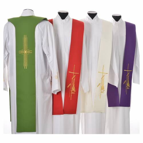 Tristole in polyester with cross, lamp and ear of wheat symbols s2