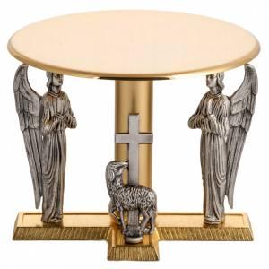 Basi per ostensorio: Tronetto ottone con angeli e agnello in bronzo