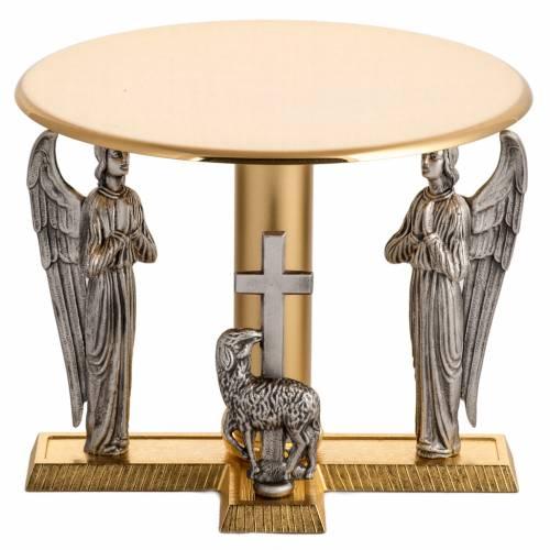 Tronetto ottone con angeli e agnello in bronzo s1