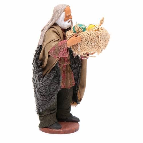 Uomo con cesto di meloni in mano 13 cm presepe Napoli 4
