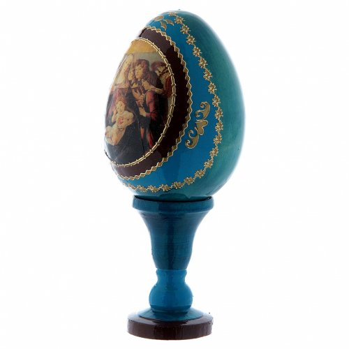 Uovo in legno russo blu h tot 13 cm La Madonna della melagrana s2