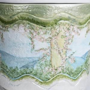 Urna cineraria marmo sintetico decori a mano s3