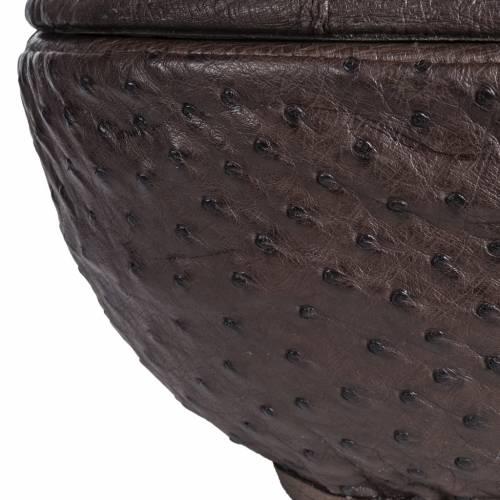 Urna funeraria tonda marmo ricoperto pelle struzzo s3