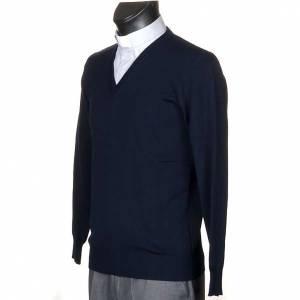 Cardigan jackets: V-neck blue pullover