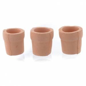 Hauszubehör für Krippe: Vase aus Tonerde fuer Krippe 3 Stuecke
